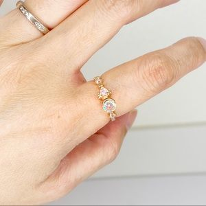 Ethereal Dream Pink Opalescent Crystal Gold Ring 6